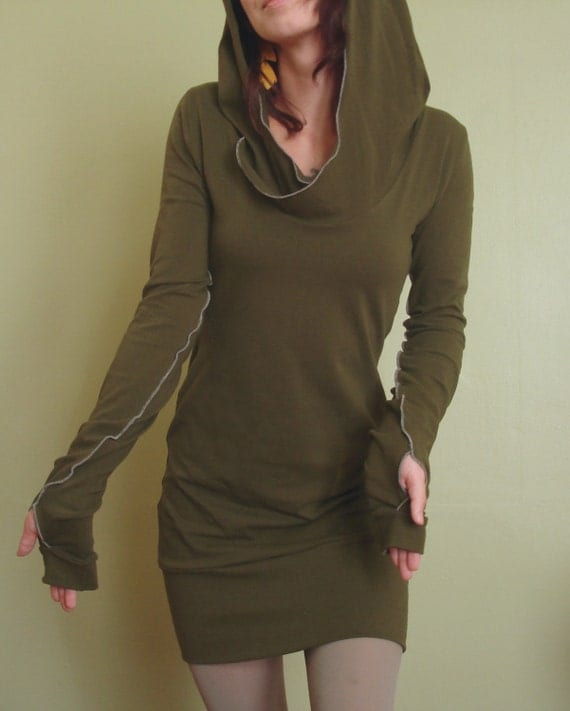 hooded tunic dress/extra long sleeves w/thumb holes/Dark Olive