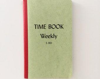 Time Book Weekly Blank Log Book 1960s