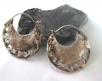 Large Sterling Silver Hoops, Hammered Silver Earrings, Earring Hoops, Textured Earring, Blackened Silver Earring, Raw Silver Earrings