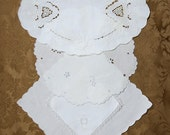Vintage Linen Whitework Lot, Embroidered White-on-White Linens ... Napkins, Doilies ... for pillows, sachets, journals, quilts
