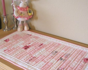 Pretty in Pink Scrappy Spring Table Runner, 15 x 27, Reversible, Shabby Chic, Quilted, Handmade