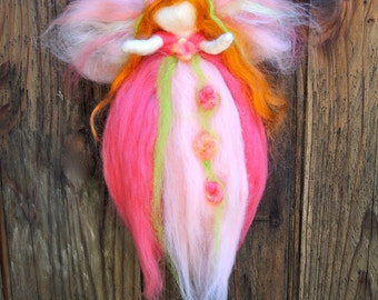 Sweet Pink fairy - Needle felted  Steiner Waldorf inspired with love By Rebecca Varon