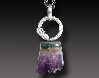 Amethyst and  Agate Sterling Silver Pendant Amethyst Crystals