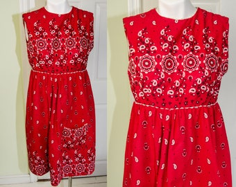 Vintage 1950's 1960's Woman's Red Bandana Print Cotton Sun Dress