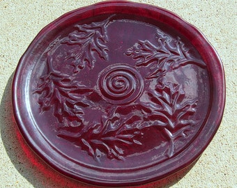Red Oak Leaf Textured Fused Glass Round Serving Plate