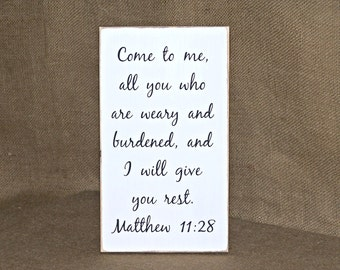 Home Decor Wood Sign, Country Cottage Scripture Quote, Bible Verse Matthew 11 28, Christian Religious Plaque, Distressed Art Hanging Decor