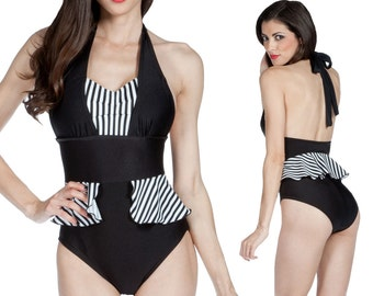 Mazie Peplum Halter Swimsuit in Black with Black and White Stripes