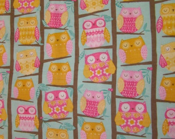 Owls On Trees Flannel Fabric