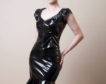 Black PVC Zip Up Top with Short Sleeves-Small (Sale)