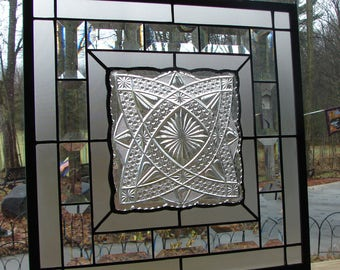 Crystal Clear Glass stained glass plate panel