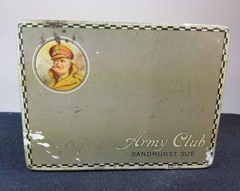 Vintage Tin Metal Cigarette Box 1930's Advertising