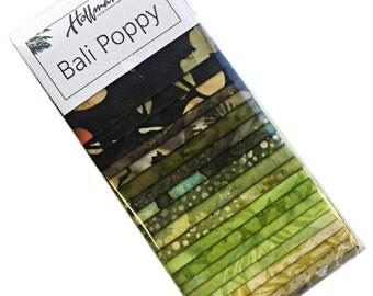 """Hoffman Prairie Bali coquelicot prédécoupés 2.5"""" tissu patchwork Batiks ETV-170 de bandes peintes à la main"""