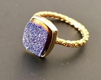 Dara Ettinger NADIA Druzy Ring in 14kt Gold/ Purple sz  7.25