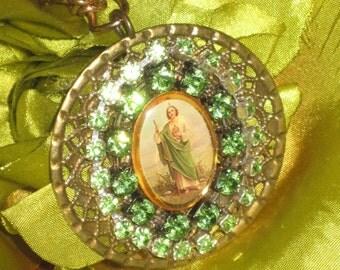 Saint Jude Handmade Pendant Necklace with Vintage Rhinestones