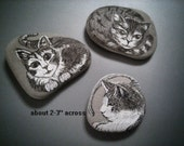 Special order Reserved Listing Cat Rock Memorials Handpainted Stones for Mickie ONLY