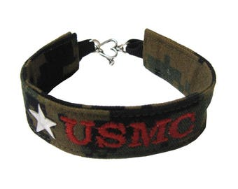 U.S. Marines Name Tape Military Bracelet, Marine Corps Camo Bracelet, Custom USMC Jewelry, U.S. Marines Gifts