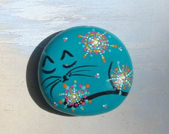 My #54 -Cat Stone - Hand Painted Stone Sleeping Cat Stone #54... Makes a cute gift for cat lovers!