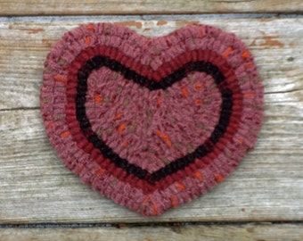 Valentine's Day Heart - Primitive Rug Hooked Pink Heart Coaster - Hand Hooked Folk Art Style (Free Shipping)