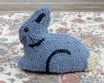 Primitive Hand Hooked Easter Bunny - Rug Hooking Folk Art Rabbit - Blue Bunny
