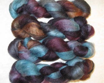 Handpainted Rovings -- Blueface Leicester Wool and Silk