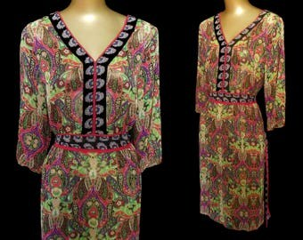 Vintage 70s India Dress, 1970s East Indian Boho Rich Hippie Paisley Print Silk Dress, Size L Large