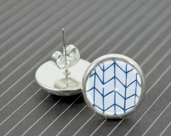 Geometric Pattern Silver Studs - Round Glass Dome Blue White Geometric Earrings