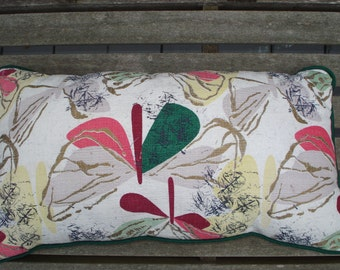 Barkcloth Pillow with Floral Print, Vintage Fabric, Home Decor