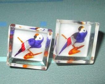 Vintage MOD 60s Purple Parrot Bird Design Clear Lucite Earrings