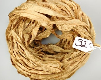 Sari silk Ribbon, Recycled Silk Sari Ribbon, Tan sari ribbon, Tan silk sari ribbon, weaving supply, knitting supply, jewelry supply