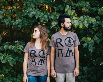 ROAM graphic tees - matching t shirts - men or women - tshirt set - gift for travelers - gift for couples - camping or hiking shirt