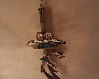 OWLS on driftwood ornament