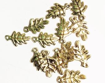 20 pcs of antique gold Oak Leaf charm 9x15mm, bulk leaf charm, antique gold alloy leaf charm