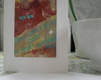 Time Spent With Cats Greeting Card ATC ACEO OOAK