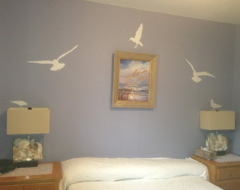 Bird Wall Decal, Seagull Birds 7pc , Seagull Wall Stickers, Bird Wall Stickers, Vinyl Wall Art, Seagulls, Beach Wall Stickers