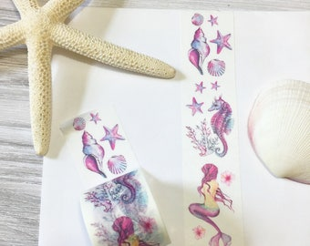 Magical Underwater World Washi Tape • Seashell Washi Tape • Seahorse Washi Tape • Mermaid Washi Tape