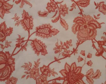 Vintage shabby chic floral Vymura Rosalind pink cotton fabric 1.2metres x 2.2 metres