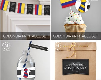 INSTANT DOWNLOAD - COLOMBIA -  Missionary Farewell Welcome Home Decoration Printable Set for Sisters