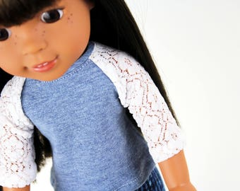 Fits like Wellie Wishers Doll Clothes - The Baseball Raglan Tee in Dusty Heather Blue and Lace, Made To Order