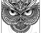 Custom order for Karen ONLY Owleister Grayscale Coloring Page