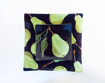 Ceramic Plate Set READY to SHIP Ceramic Serving Tray Pear Medium Square Minimalist Tray Green Pottery Modern Serving Platter Wedding Gift P