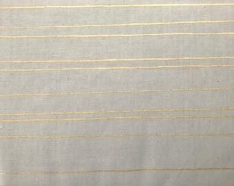Cotton + Steel Cozy Pencil Stripes Grey Metallic 100% Cotton Fabric