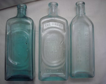 Vintage Aqua Green Blue Rustic Country Chic Medicine Bottle Collection of Three