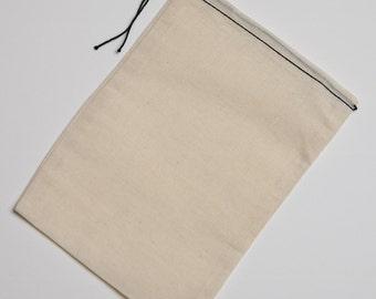 10 6x8 Black Hem Black Drawstring Cotton Muslin Drawstring Bags