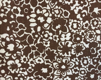 Brown floral fabric Crazy Daisy Funky 1970s cotton  1.5 yards