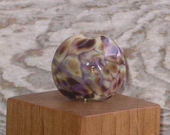 Handmade Glass Lampwork Lentil Focal Bead - Winter Garden
