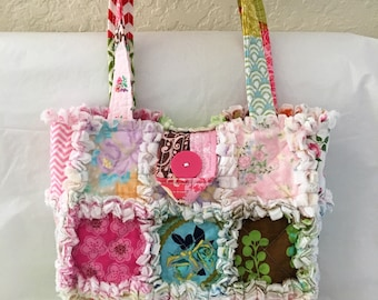 "Rag Quilt Purse Tote Bag  Pastels Florals Spring Summer Shabby Chic Diaper Bag Knitting Tote Bag 12"" X 12"" Woman Gift Teen"