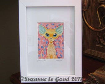 DEVON REX CAT painting framed with crystals by Suzanne Le Good