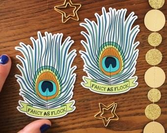 Peacock Sticker. Peacock Feather. Vinyl Sticker. Die cut stickers. Peacock Car Sticker. Laptop Decal. Water Bottle Sticker. Fancy As Fuck