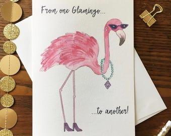 Flamingo Card. Friendship Card. Glamorous Card. Pun Card. Birthday Card. Pink Flamingo. Bird Card. Just Because Card. Flamingo Pun Card