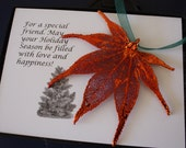 Copper Maple Leaf Ornament, Real Leaf Japanese Maple, Maple Leaf Extra Large, Ornament Gift, Christmas Card, ORNA80